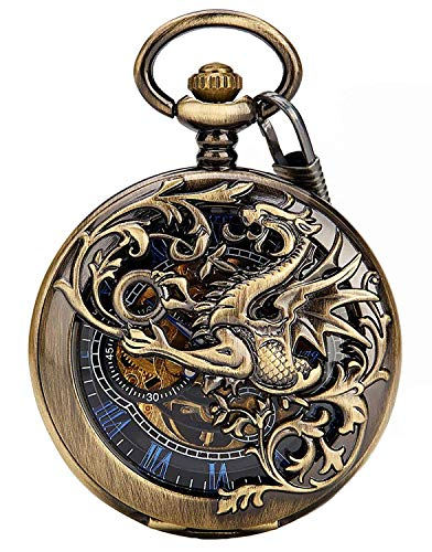 Carrie Hughes Men's Dragon Engraving Vintage Steampunk Skeleton Mechanical Pocket Watch with Chain CHPW10 (CHPW10A)