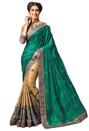 Nivah Fashion Women's Silk Embroidery Work With Diamond's Material Saree K724(Green) by Nivah Fashion