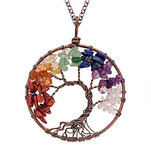 NIUTAH Chakra Gemstone Tree of Life Natural Tumbled Gemstone Wire Wrapped Pendant Necklace (Chakra)