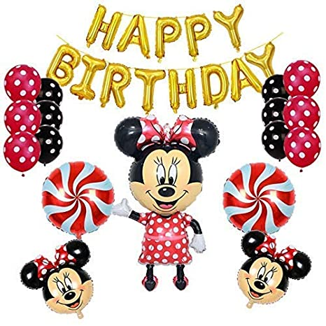 Amazon Minnie Mouse Birthday Party Supplies And Red Polka Dot 18 Pc Balloon Decorations Office Products