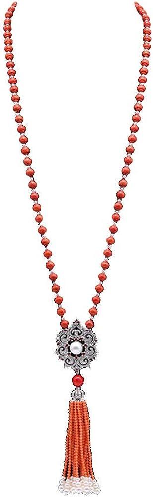 JYX 6,5–7mm Redondo Coral Rojo Collar Largo suéter Borla Collar 30