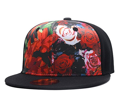 Floral Print Baseball Cap,Premium Red Rose Flower Snapback Dad Hat for Men Women by Quanhaigou