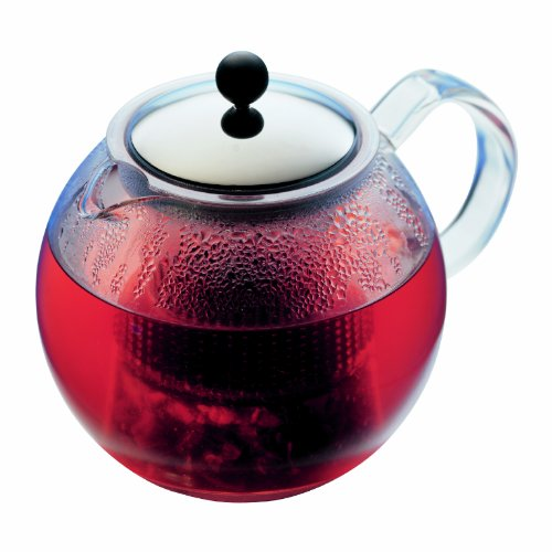 Assam 4 Cup Tea Press (Assam Tea Press with Glass Handle and Stainless Steel Lid, 8 Cup, 34-Ounce)