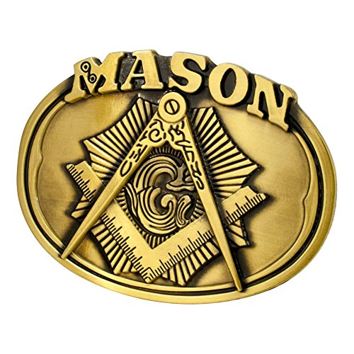Buckle Rage Adult Mens Freemason Masonic Compass Logo Oval Belt Buckle Bronze
