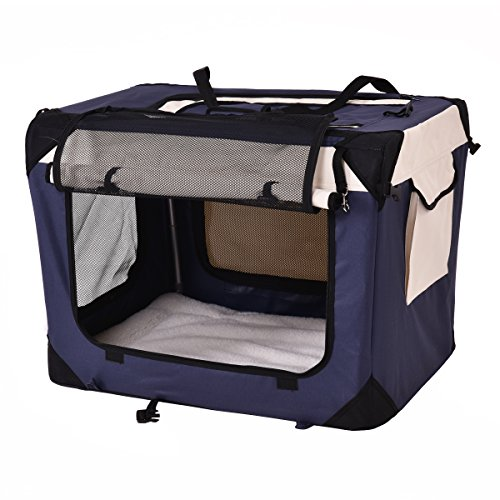 Giantex Pet Dog Carrier Portable House Soft Sided Cat Travel Crate Tote Bag Dog Crate Indoor & Outdoor Use 4 Sizes/ 4 ColorColor (S, Dark blue)