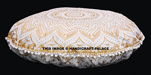 Large Gold Ombre Mandala Floor Pillows Round Bohemian Meditation Cushion Cover Ottoman Poufs Sham Indian Tapestry 32'' Inch by Handicraft-Palace