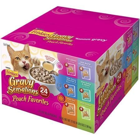 Gravy Sensations Pouch Favorites 3 oz Pouches Friskies Wet Cat Food Variety Packs of 24 (Gravy Sensations Pouch Favorites 3 oz Pouches) by Purina