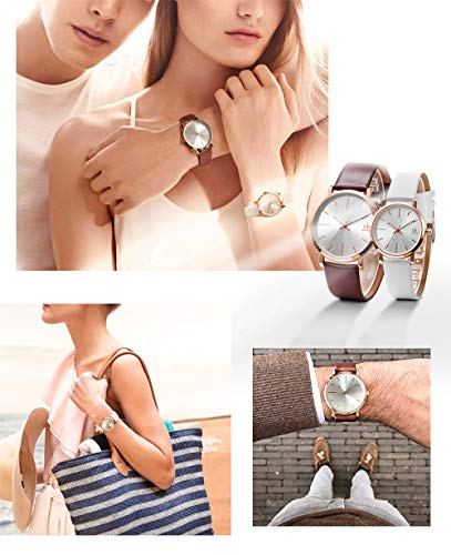 SK SHENGKE Couple Watches Anniversary Gifts for Lover Set of 2 Pairs Sweet Gifts for Valentines. (K8039-Brown-White) by SK SHENGKE (Image #5)