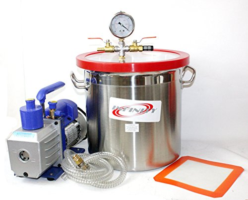 5 Gallon Stainless Steel Vacuum Degassing Chamber Silicone Kit w/5 CFM Pump Hose by wang tong shop