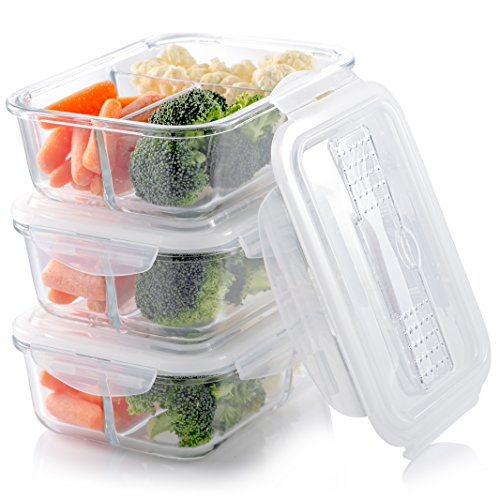 Glass Meal Prep Containers (3-Compartment) | Airtight Lids with In-Built Cutlery Slot and FREE Reusable Flatware Set | Microwavable and BPA-Free Food Portion Control Bento Lunch Boxes (3 Pack/ 32oz)