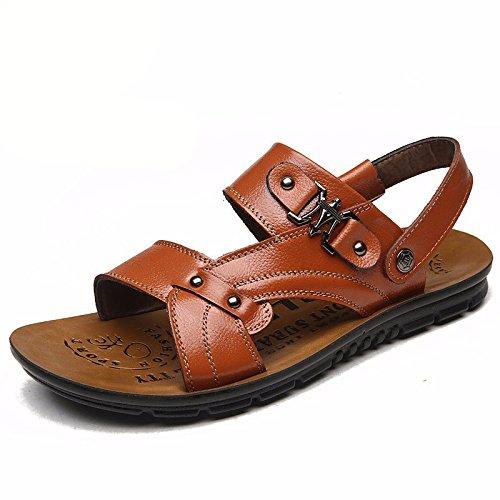 Il nuovo Uomini estate Spiaggia scarpa Uomini scarpa pelle sandali sandali pelle mode tendenza Spessore inferiore Tempo libero ,arancia,US=10,UK=9.5,EU=44,CN=46