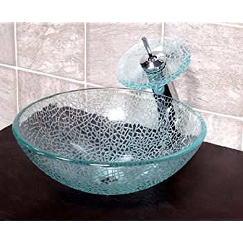 1 2 Quot Tempered Etched Crackle Glass Vessel Sink With