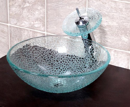 1 2 Tempered Etched Crackle Glass Vessel Sink with Matching chrome Waterfall Faucet
