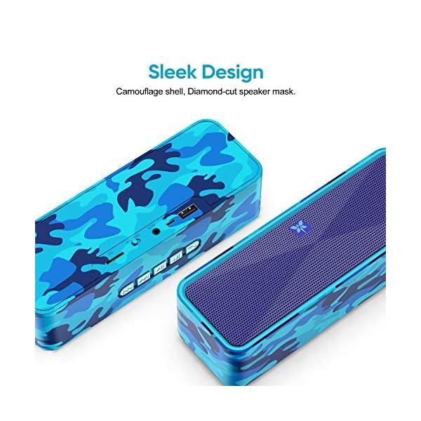 Enceinte Bluetooth 5.0 Portable, Axloie Macaron Haut-Parleur sans Fil HiFi Stéréo avec Microphone Mains Libres Entrée AUX/Clé USB/Carte TF 12 Heures Autonomie pour iOS Android Tablettes - Camouflage 3