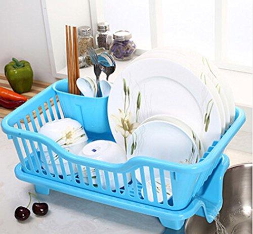 (Large Kitchen Dish Rack/drain Dishes Racks / Kitchen-pod/side of the Leak Water Dishes Shelf (Blue))