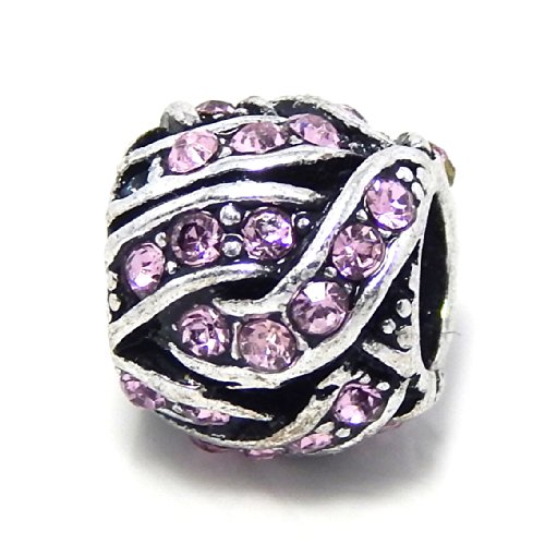 """Pro Jewelry """" Barrel Style Weaved Lt Pink Crystals Rhinestone """" Charm Bead for Snake Chain Charm Bracelets"""