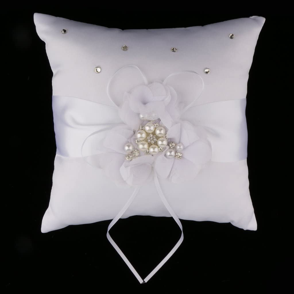 Vintage Wedding Ring Pillow Ring Bearer Square Ring Pillow Wedding DIY Craft 7.87 x 7.87in 20x20cm Purple