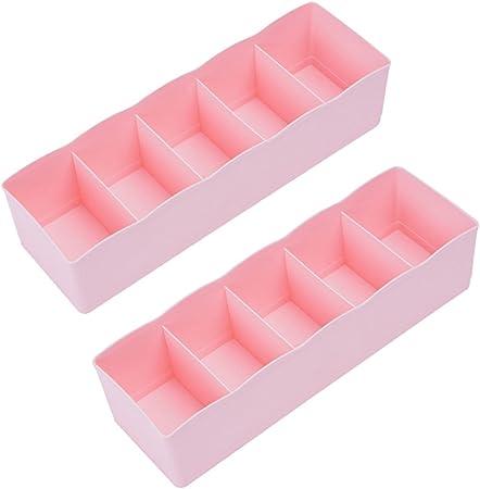 Demarkt Caja de Almacenaje Compartimentos Organizador Ropa Interior Calcetines Corbatas Cinturones Calcetines de Almacenamiento de Cinco Cajas 2PCS: Amazon.es: Hogar