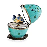 Butterfly and Bird Limoges Egg - Turquoise