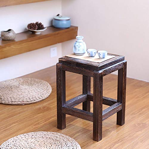 PLLP Change Shoe Bench, Solid Wood Stool-Stool Vintage Square Solid Wood High Drinking Tea Table Adult Balcony Outdoor Leisure