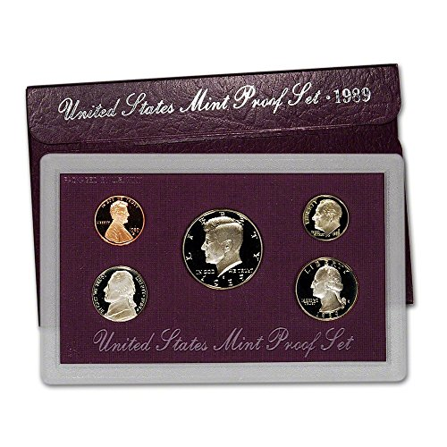 (1989 S Gem 5-Piece Proof Set Penny, Nickel, Dime, Quarter, Half Original Packaging Proof Coins US Mint)