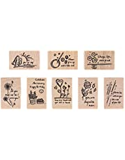 Wooden Rubber Stamp Set, NogaMoga 8pcs Graffiti Art Plant and Flower Pattern Rubber Seals, Wood Mounted Decorative Stamps for DIY, Scrapbooking Craft, Gift Wrapping and Cards
