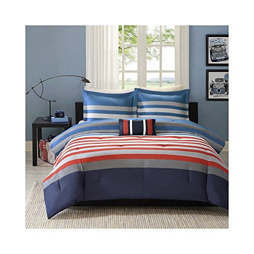 Mizone Kyle 3 Piece Comforter Set, Red/Blue, Twin/Twin X-Large