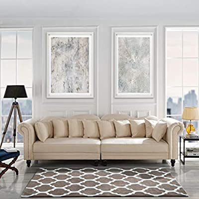 Classic Velvet Chesterfield Scroll Arm Large Living Room Sofa (Beige) - Classic yet modern scroll arm chesterfield style 2 piece sofa with nailhead trim. Hardwood frame upholstered in hand picked soft microfiber velvet fabric featuring a nailhead trip around arm rests. 2 Piece sofa with loose back cushions, a plush seat cushion curbed frame to bring a traditional style to any living room. - sofas-couches, living-room-furniture, living-room - 51azt3IZIUL. SS400  -