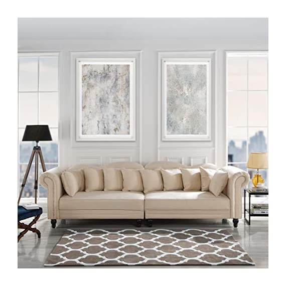 Classic Velvet Chesterfield Scroll Arm Large Living Room Sofa (Beige) - Classic yet modern scroll arm chesterfield style 2 piece sofa with nailhead trim. Hardwood frame upholstered in hand picked soft microfiber velvet fabric featuring a nailhead trip around arm rests. 2 Piece sofa with loose back cushions, a plush seat cushion curbed frame to bring a traditional style to any living room. - sofas-couches, living-room-furniture, living-room - 51azt3IZIUL. SS570  -