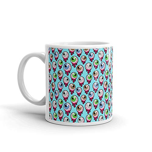 Seamless Pattern With The Bloody Zombie Or Alien Eyeballs Fun Halloween Blue Scary Monster Milk Mug Cup Ceramic 11 -