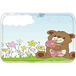 VROSELV Custom Door MatKidCartoon Style Cute Teddy Bear with Toy in Meadow Swirled FlowerButterfly and Cloud Multicolor