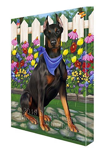 y Spring Floral Doberman Pinscher Dog Canvas