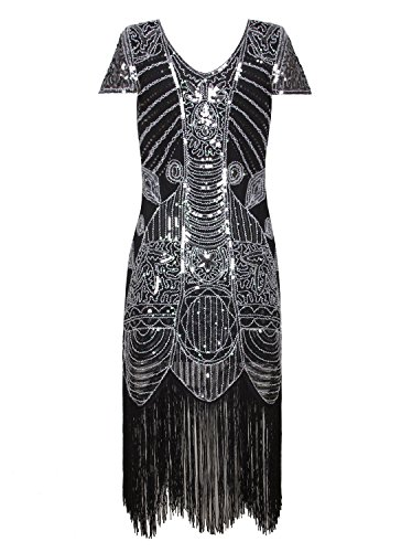 Gatsby with Sequin Vijiv Deco Dress Dresses Cocktail Sleeves Grey Art 1920s Flapper Silver IHHAF