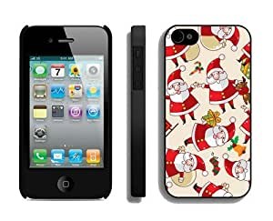 Personalized Iphone 4S Protective Skin Case Cartoon Santa Claus Black iPhone 4 4S Case 1