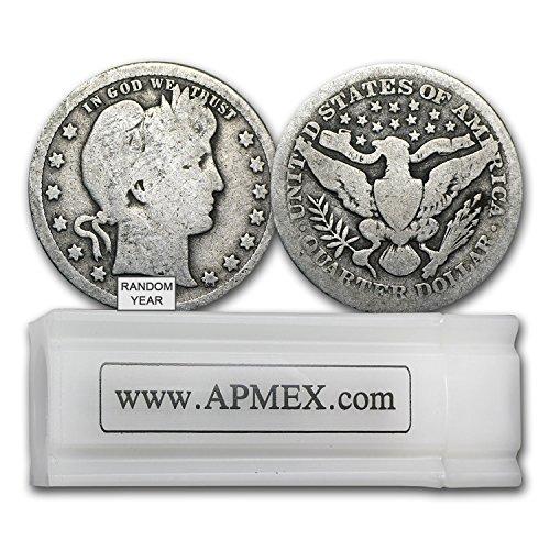 1892-1916 90% Silver Barber Quarters 40-Coin Roll Good/Better Quarter Good