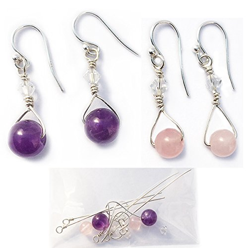 Earring Making Kit, 2 pairs, Amethyst and Rose quartz earrings,Sterling Silver, all real