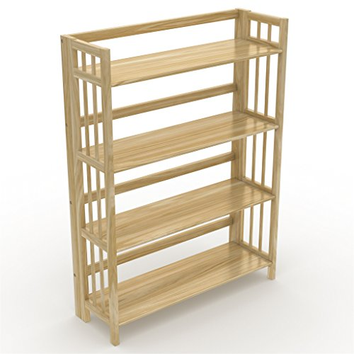 Stony-Edge No Assembly Folding Bookcase, 4 Shelves, Media Ca