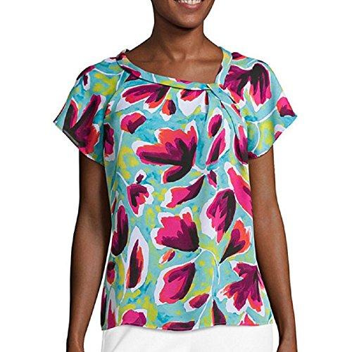 liz-claiborne-short-sleeve-asymmetrical-knot-blouse-size-l