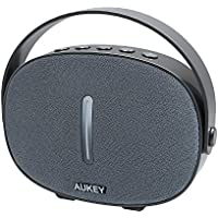 AUKEY Portable Bluetooth Speaker with Fabric Front, Hanging Strap, and 3.5mm Audio Input for iPhone, Samsung Phones, Computers, and More