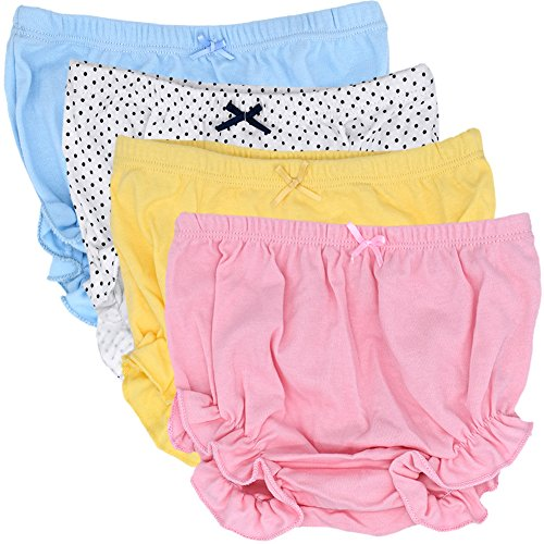 CeeDeek Baby Diaper Covers Combed Cotton Panties 4 Pack Cartoon Bloomers (3-4y, Girls Lacy A)