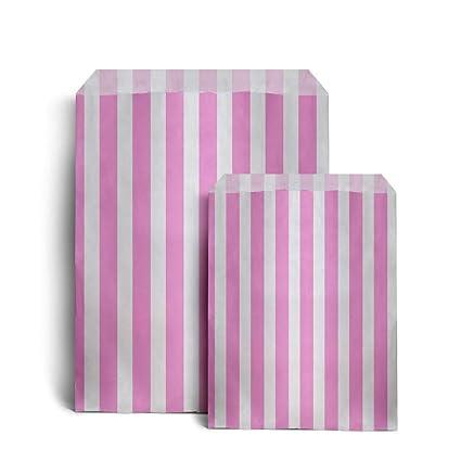 100 bolsas de papel a rayas color rosa para golosinas, 17,8 ...