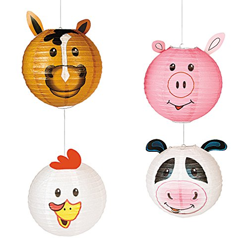 Fun Express Farm Party Paper Hanging Lanterns | 4 Count | Great Decors for Birthdays, Home, Doorway, Bedroom, Barnyard, ()