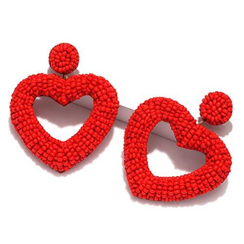 - CEALXHENY Beaded Earrings for Women Boho Heart Beaded Drop Earrings Statement Bead Hoop Dangle Earrings Studs for Girls (Red)