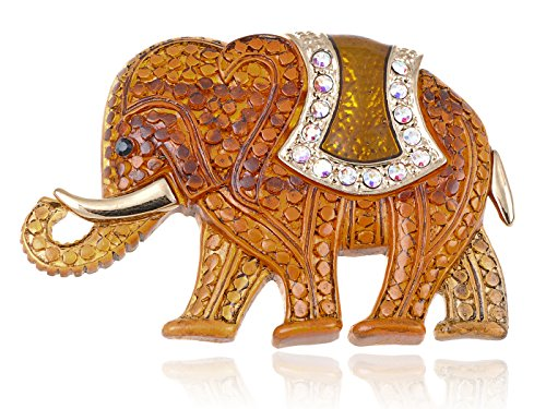Alilang Matte Orange Stone Iridescent Rhinestones African Elephant Brooch Pin