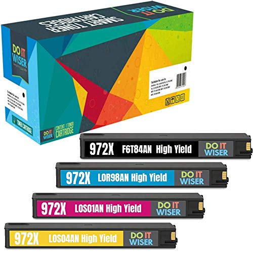 Do it Wiser Compatible Ink Cartridge Replacement for HP 972X 972 HP Pagewide Pro 477dw 477dn 577dw 577z 452dn 452dw 552dw P55250dw P57750dw (High Yield, 4 Pack) (Compatible Inkjet Cartridge Set)