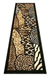 Animal Skin Print Runner Rug Leopard Tiger Black Skinz Design 70 (2 Feet X7 Feet)
