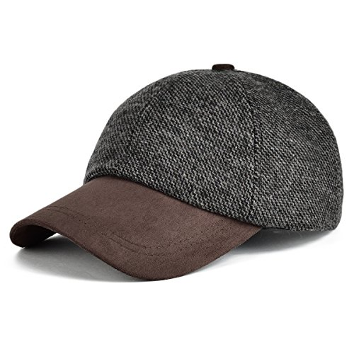 (VOBOOM Men's Wool Blend Baseball Cap Herringbone Tweed Ball Cap Check Woolen Adjustable Peaked Cap (Dark Grey))
