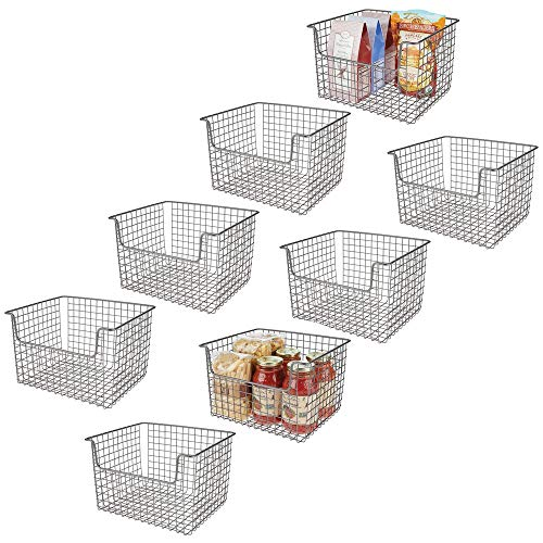 mDesign Metal Kitchen Pantry Food Storage Organizer Basket – Farmhouse Grid Design with Open Front for Cabinets, Cupboards, Shelves – Holds Potatoes, Onions, Fruit – 12″ Wide, 8 Pack – Graphite Gray