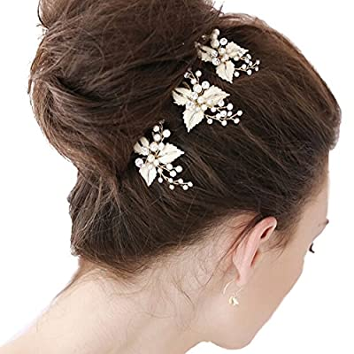 Queenco Women's Rhinestone Hair Pins Wedding Party Bridal Hair Jewelry 3 Pieces/Pack