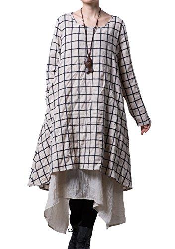 Mordenmiss Womens New Plaid Layers Irregular Hem Dress X Large Beige